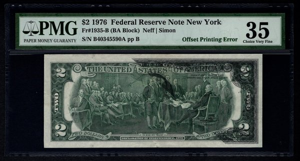1976 $2 ERROR Front to Back Offset Printing PMG 35 Fr.1935-B Federal Reserve Note Item #5004206-018