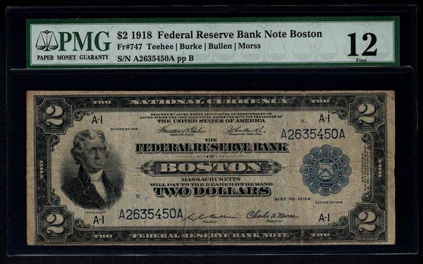 1918 $2 Boston FRBN Battleship Note PMG 12 Fine Fr.747 Item #1074351-013