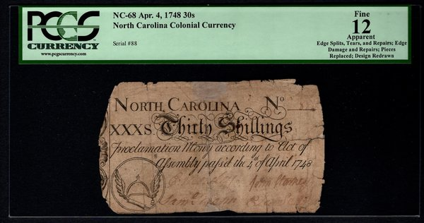 1748 North Carolina Colonial Note PCGS 12 APPARENT NC-68 30s Shillings Item #80574694