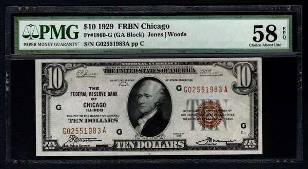 1929 $10 Chicago FRBN PMG 58 EPQ Fr.1860-G Item #1511568-017