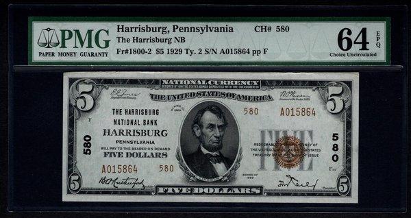 1929 $5 Harrisburg PA Pennsylvania PMG 64 EPQ Charter CH#580 Fr.1800-2 Item #1024651-012