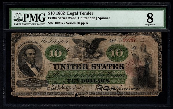 1862 $10 Legal Tender PMG 8 VG Fr.93 United States Note Item #5012489-002
