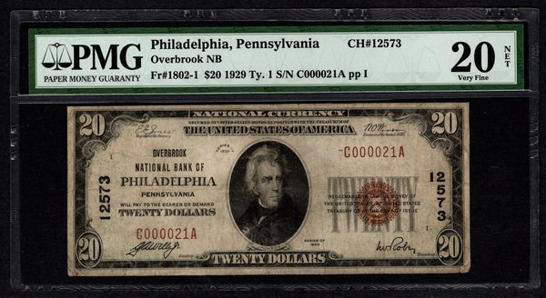 1929 $20 Overbrook National Bank of Philadelphia PA PMG 20 NET Fr1802-1 CH#12573 Item #8049657-003