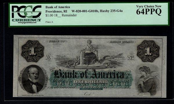 1800's $1 Bank of America Providence RI Rhode Island PCGS 64 PPQ Obsolete Note Item #80681205