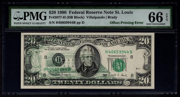 1990 $20 ERROR Back To Front Offset Printing PMG 66 EPQ Federal Reserve Note Item #1186781-001
