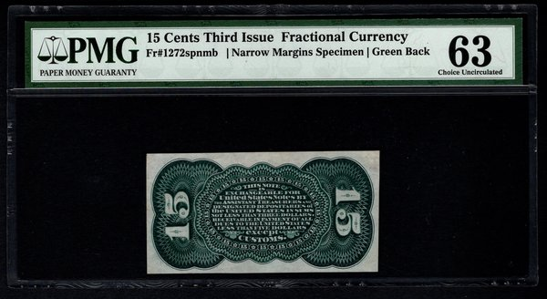 Third 3rd Issue 15 Cents PMG 63 Fr.1272spnmb Green Back Specimen Fractional Currency Item #5012457-001