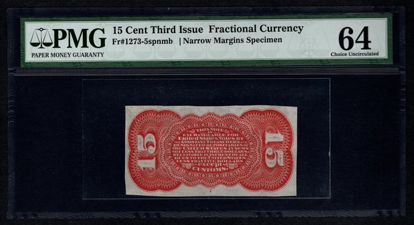 Third 3rd Issue 15 Cents PMG 64 Fr.1273-5spnmb Red Back Specimen Fractional Currency Item #2501515-003