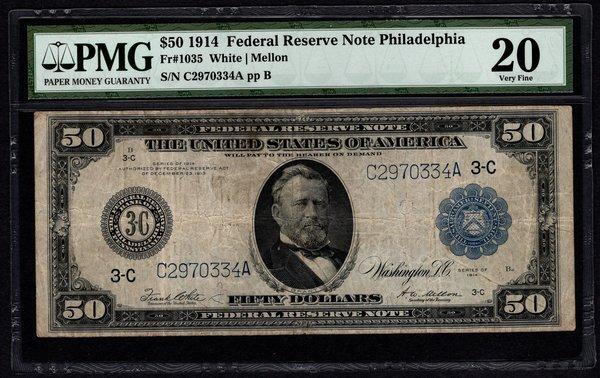 1914 $50 Philadelphia FRN PMG 20 Fr.1035 Federal Reserve Note Item #5012254-017