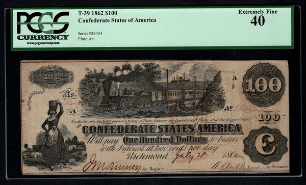 1862 $100 T-39 Confederate Currency PCGS 40 Civil War Note with Train Scene Item #80607491