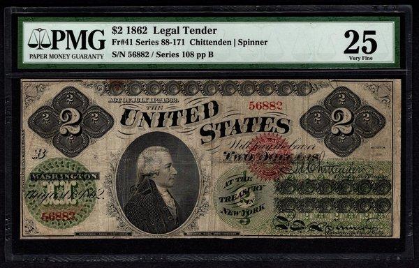 1862 $2 Legal Tender PMG 25 VF Fr.41 United States Note Item #8049657-005
