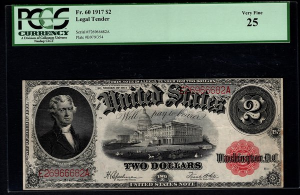 1917 $2 Legal Tender PCGS 25 VF Fr.60 United States Note Item #80042164