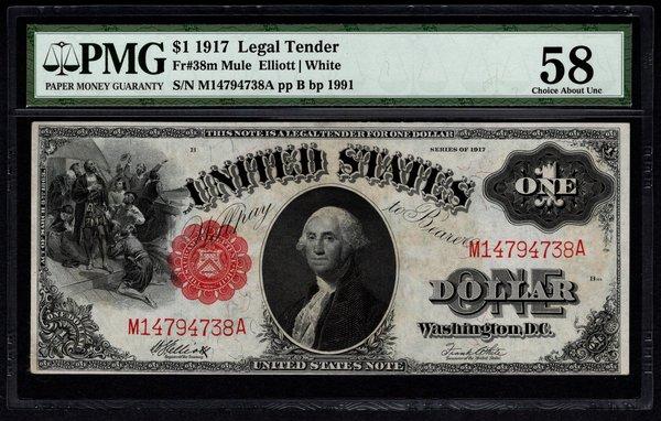 1917 $1 Legal Tender PMG 58 Fr.38m Mule United States Note Item #2506718-002
