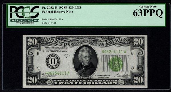 1928B $20 FRN St. Louis PCGS 63 PPQ Fr.2052-H LGS Light Green Seal Item #80779240