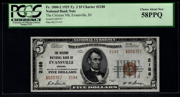 1929 $5 Citizens National Bank Evansville IN Indiana PCGS 58 PPQ Fr.1800-2 Charter CH#2188 Item #80105983