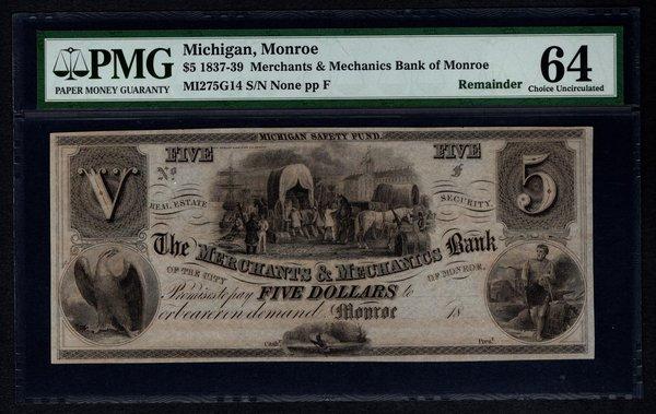 1837-1839 $5 Bank of Monroe MI Michigan PMG 64 Obsolete Note Item #1514340-042
