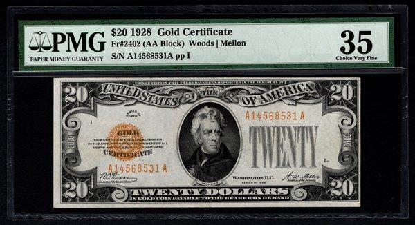 1928 $20 Gold Certificate PMG 35 Fr.2402 Item #5012337-015