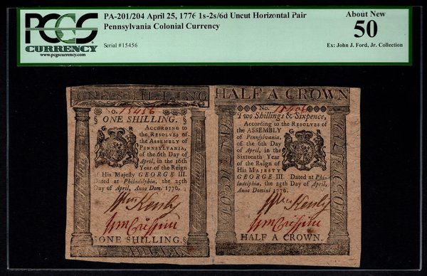 1776 Pennsylvania Colonial Currency Uncut Pair PCGS 50 PA-201/204 1s,2s&6d Item #80534968