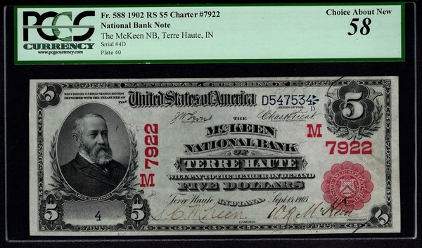 1902 $5 McKeen NB Terre Haute Indiana PCGS 58 Fr.588 Charter CH#7922 Red Seal Single Digit Serial #4 Item #80798848