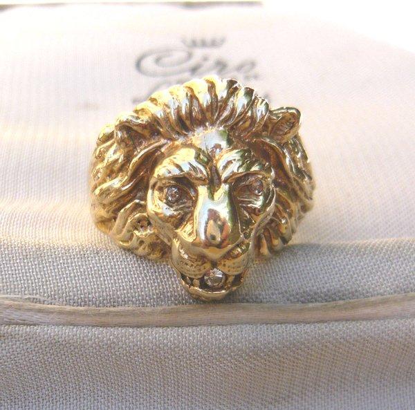 Sold Vintage 14kt Gold Lion Head Ring Eva Antiques