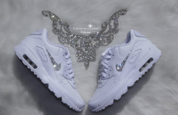 Nike Air Max 90 White Shoes Made with SWAROVSKI® Crystals - White/White.