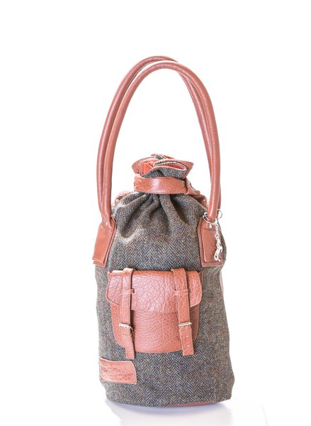 Diana Cognac and Tweed Handbag
