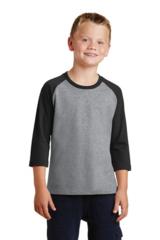 Port & Company® Youth 50/50 Cotton/Poly 3/4-Sleeve Raglan T-Shirt ml750
