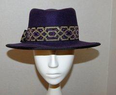 Purple wool felt fedora with purple and gold hatband