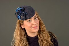 """Navy Leather """"Kate"""" styled Hat with Flowers"""