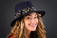 Dark Navy Fedora with Woven Ribbon Band, a Classic