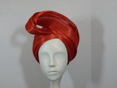 Red Silk Abaca Turban
