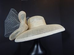 Stunning Ivory Sinamay with Metallic Silver threads dome shaped Big Brimmed Hat