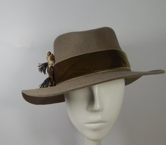 Khaki Fur Felt Hat, with Velvet band and Velvet flowers