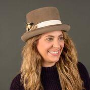 Top Hat, Riding Hat Khaki Fur Felt