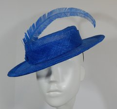 Chanel Inspired Royal Blue Sinamay Boater for Kentucky Derby