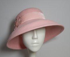 Pink Fur Felt hat with a medium down-turned brim,