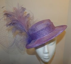 Lavender Sinamay Boater for Kentucky Derby, wedding, or special occasion