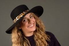 Beautiful big brimmed Fur Felt Hat with animal print band