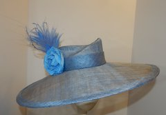 Blue Sinamay Big Brimmed hat,