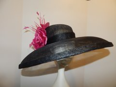 Black Sinamay Hat with Hot Pink Feathers Flowers