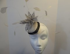 Grey and Black Sinamay Fascinator with feathers, great for Kentucky Derby, Weddings, or special Occasion
