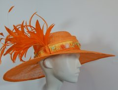 Orange Big Brimmed Sinamay Hat with feathers