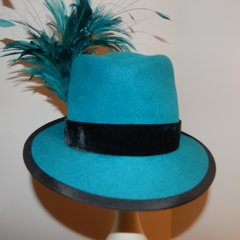 Teal Fedora with black trim and feathers