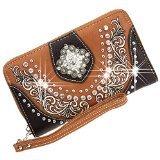 Montana West Rhinestone Concho Western Bling Ladies Zipper Wallet Brown
