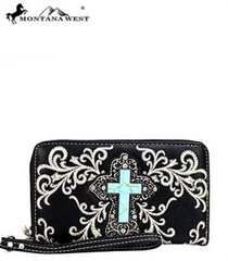 Montana West Turquoise Stone Cross Wallet