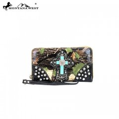 Montana West Camo Wallet With Turquoise Cross