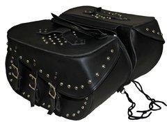 "Large 3 Strap Studded Saddle Bag 19"" x 11 1/2"" x 8"""