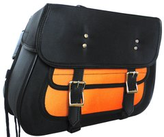 Textile Zip-Off Saddle Bags Black & Orange