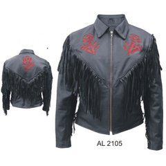 RED ROSE FRINGE JACKET