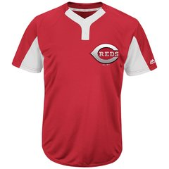 Cincinnati Reds Majestic MLB Two Button Color Blocked Jersey