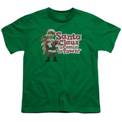 Christmas Santa Claus is Coming to Town Santa Logo Youth T-shirt